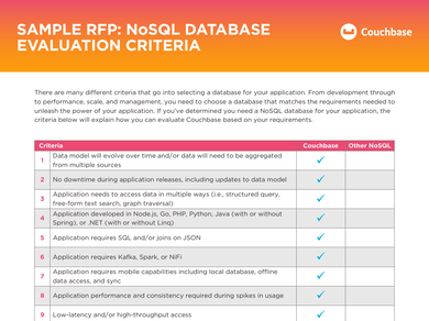 Sample RFP: NoSQL Database Evaluation Criteria