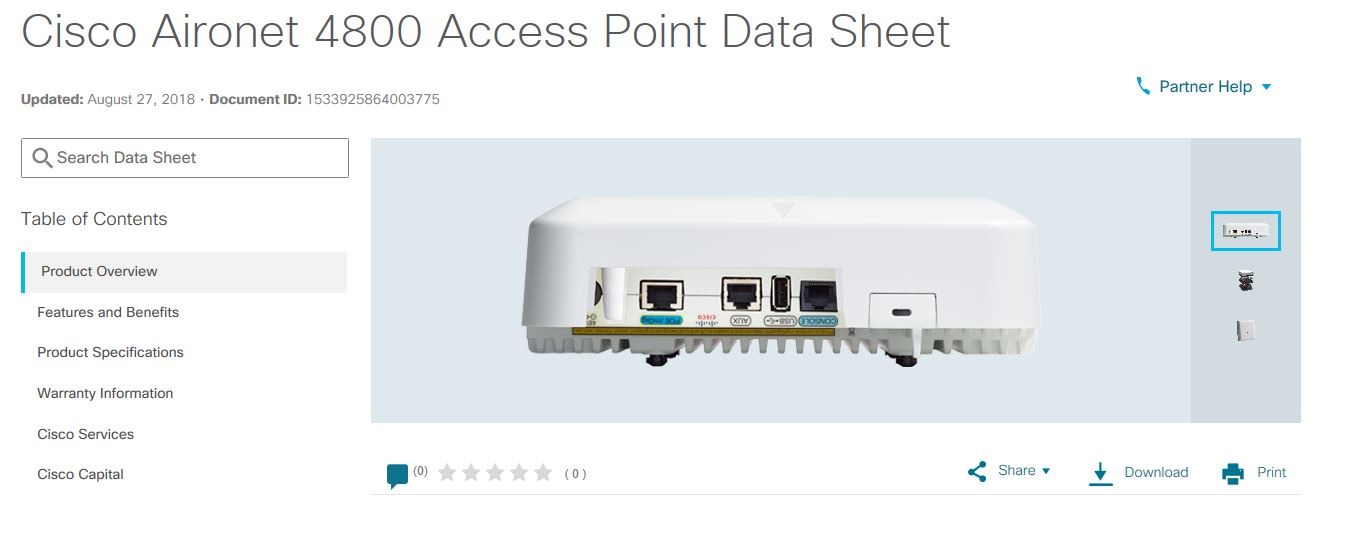 Aironet 4800 Access Point Datasheet