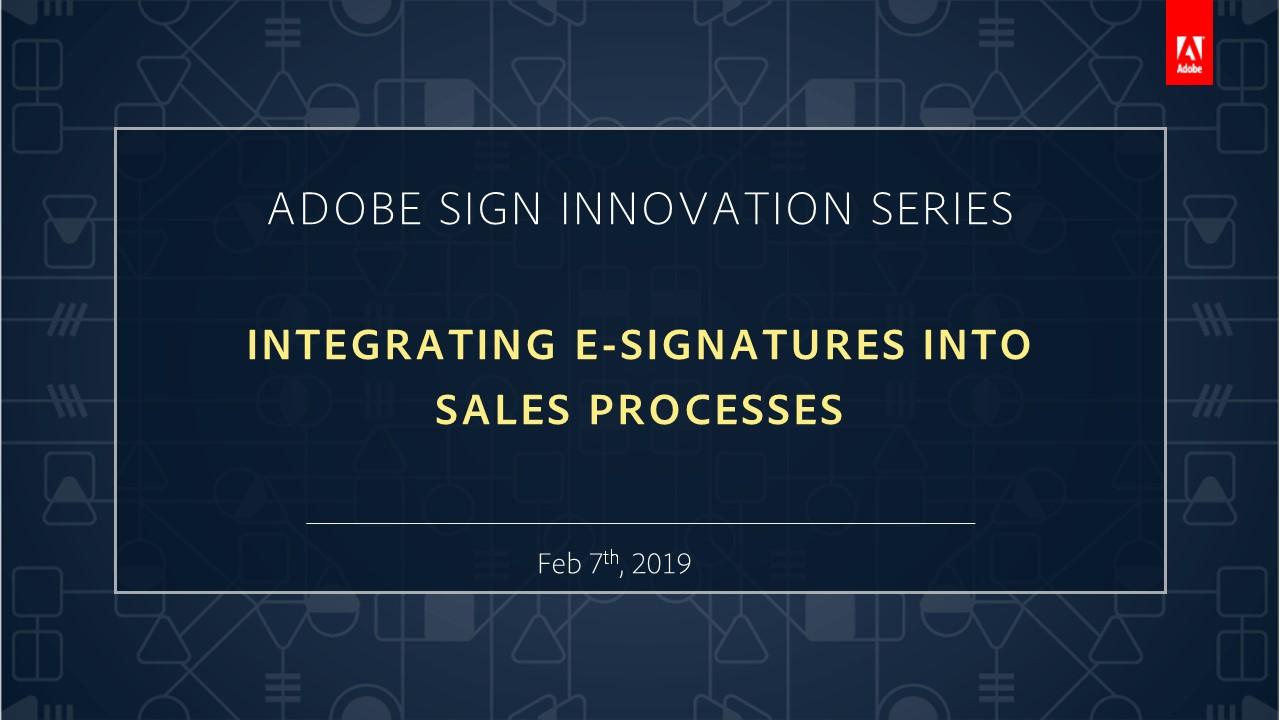 Adobe Sign Innovation Series September