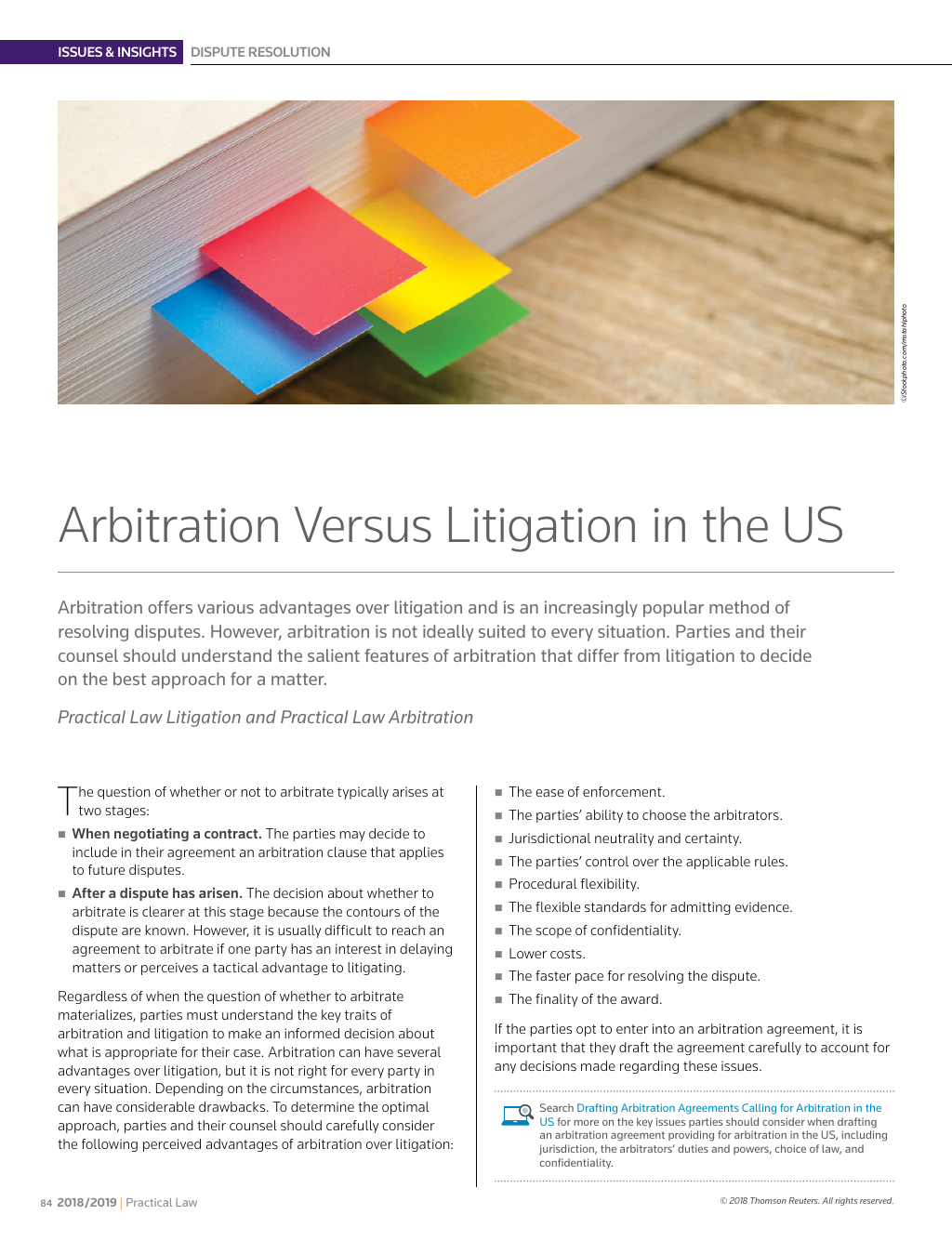 Issues Insights Arbitration Versus Litigation In The Us