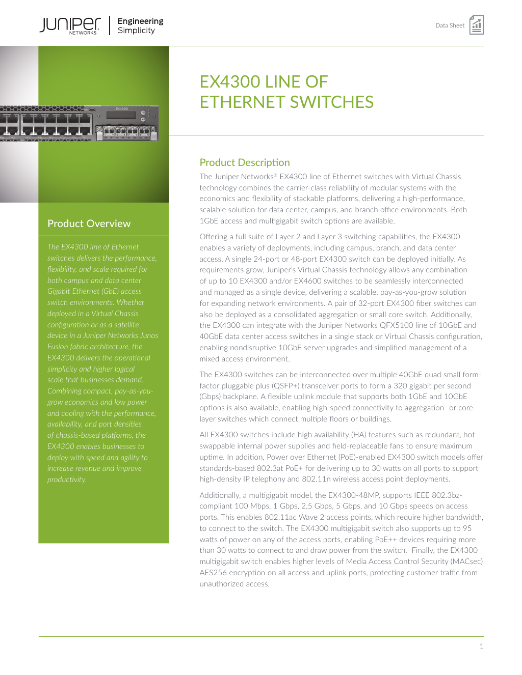 Data Sheet: EX4300 Line of Ethernet Switches