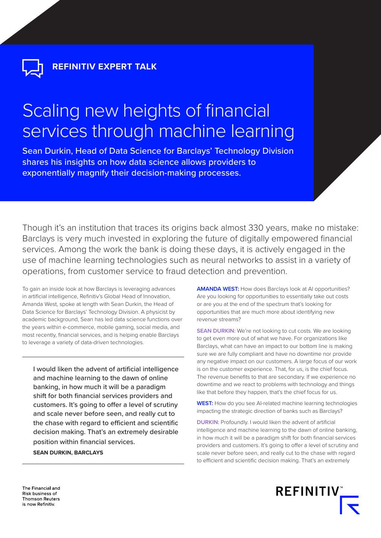 Refinitiv Expert Talk: Scaling new heights of financial
