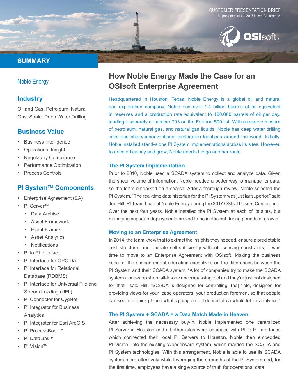 Noble Energy Makes the Case for an OSIsoft Enterprise Agreement