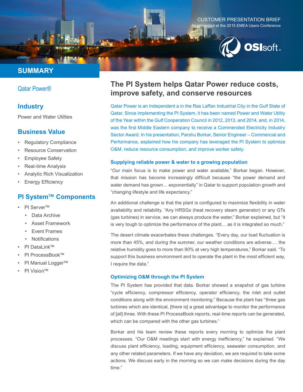 Case Study] Qatar Power Reduces Costs, Improves Safety, and