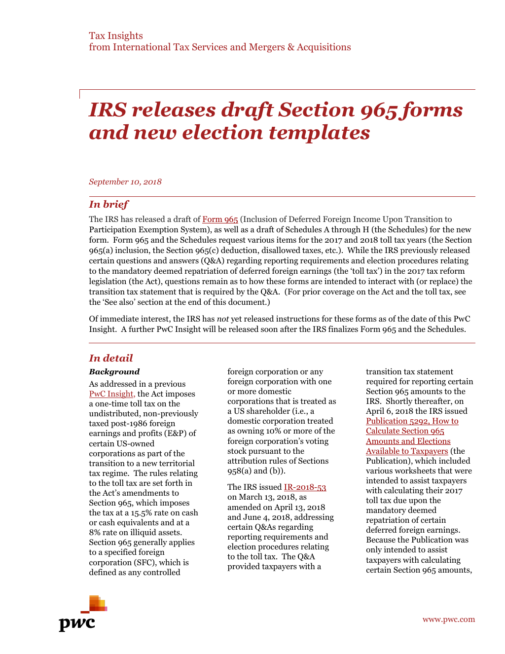 Insight] Tax reform readiness: IRS Releases Draft Section 965 Forms ...