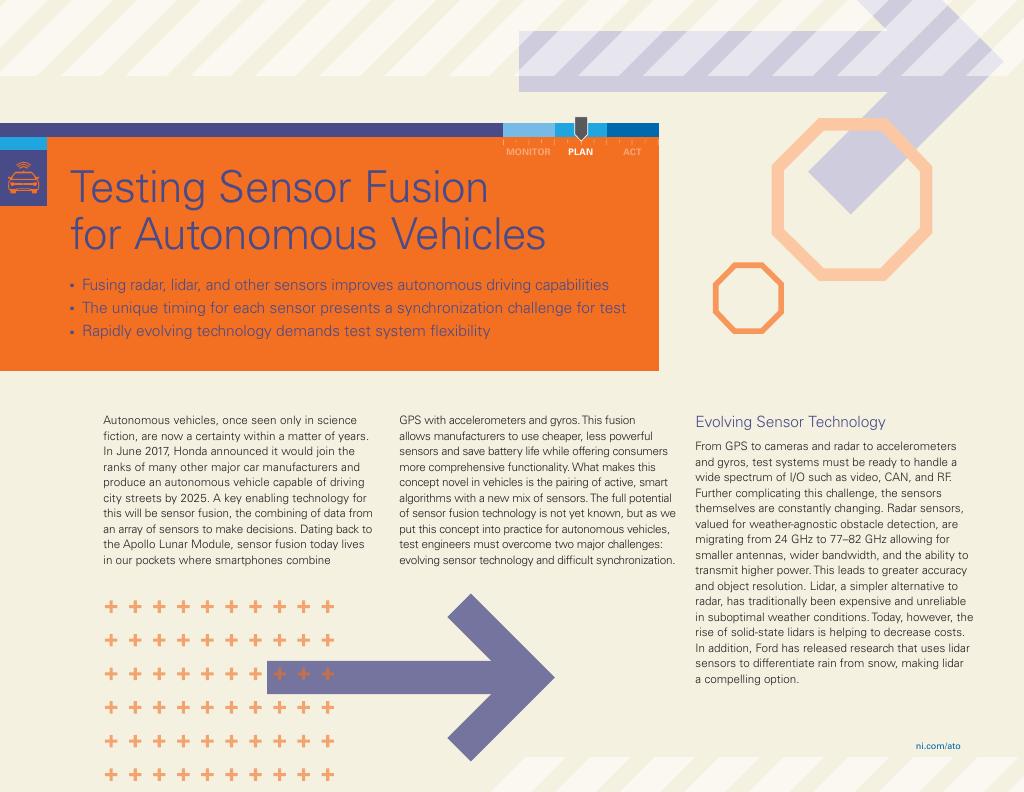 Testing Sensor Fusion For Autonomous Vehicles