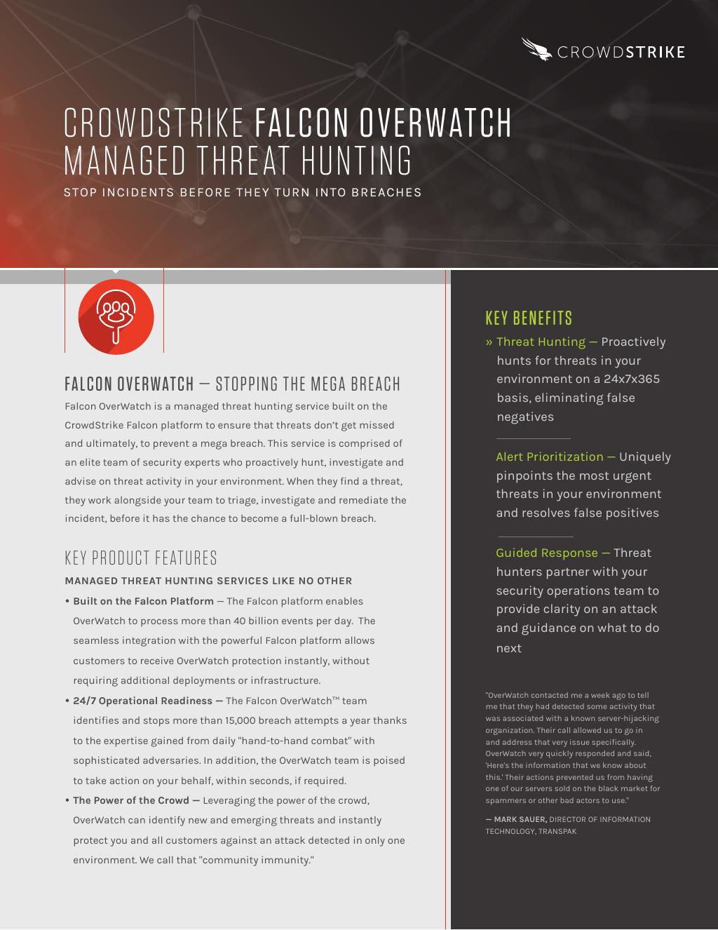 Data Sheet: CrowdStrike Falcon OverWatch