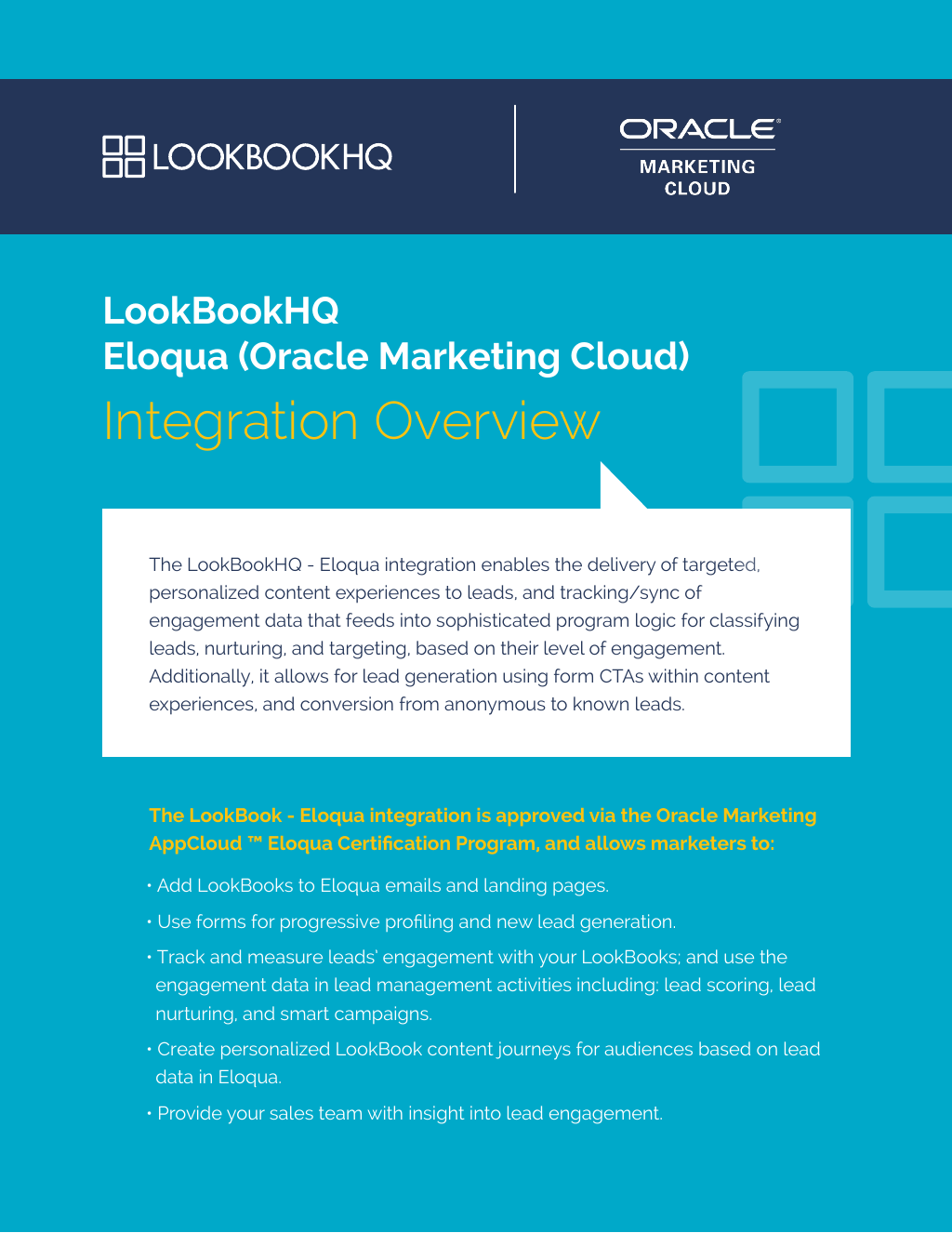 Eloqua Lookbookhq Integration Overview The Cold Hard Facts