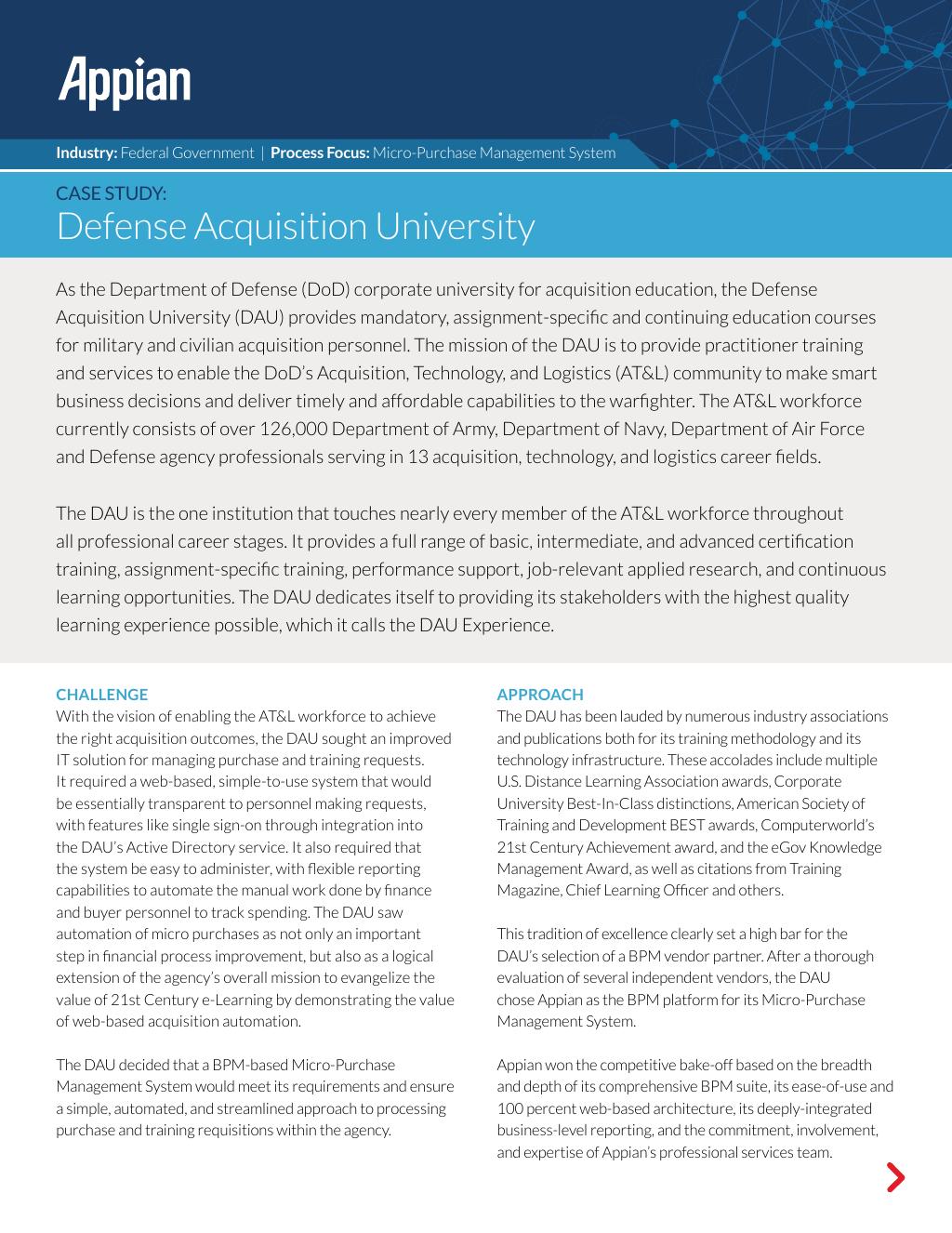 Case Study Defense Acquisition University