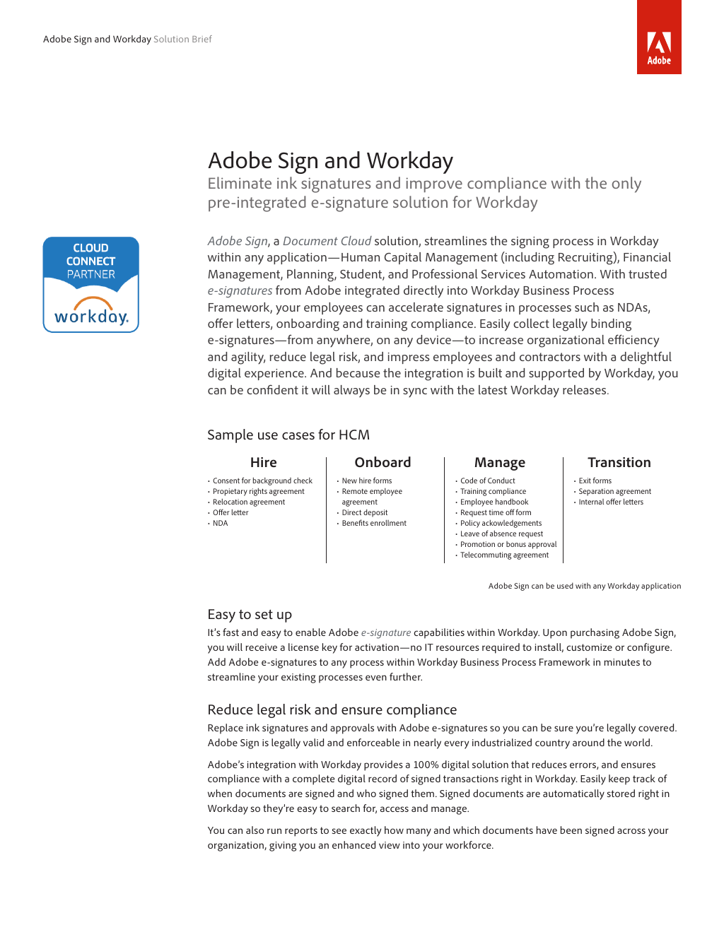 Solution Brief: Adobe Sign and Workday Integration